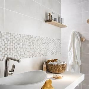 Carrelage De Douche : mosa que en marbre blanc et moka pour d corer le mur de ~ Edinachiropracticcenter.com Idées de Décoration