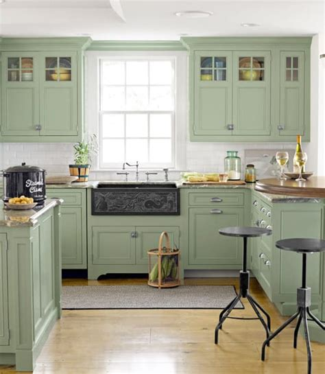 Green Kitchen Cabinets by Diy Crafts