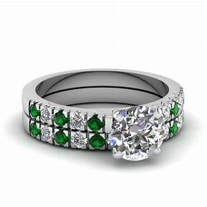 white gold round white diamond engagement wedding ring With wedding rings green