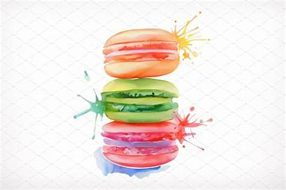 Watercolor Macarons Painting Vector Illustration