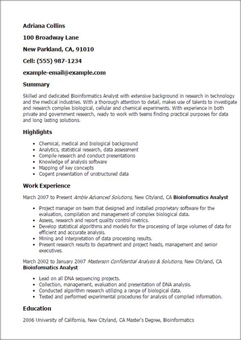 Bioinformatics Resume by Professional Bioinformatics Analyst Templates To Showcase