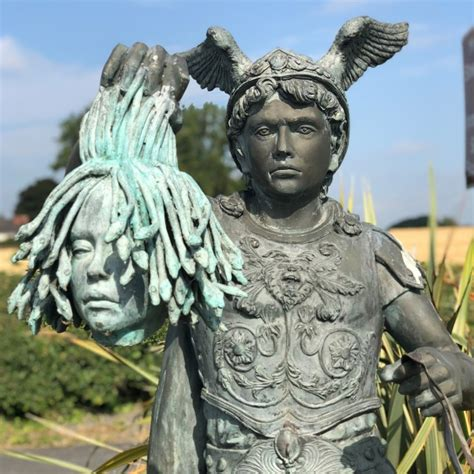 Perseus and Medusa Head Riding Chariot Sculpture | Black ...