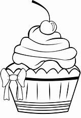 Cupcake Coloring Cute Birthday Pages Clipart Cupcakes Panda Pretty Cookie sketch template