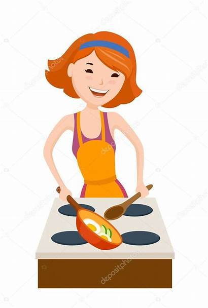 Dinner Mother Cartoon Cooking Eating Depositphotos