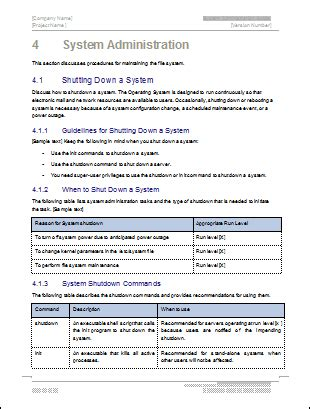 system administration guide ms word  excel template