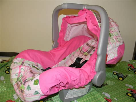 Pink John Deere Girl Infant Car Seat Cover And Canopy Cover