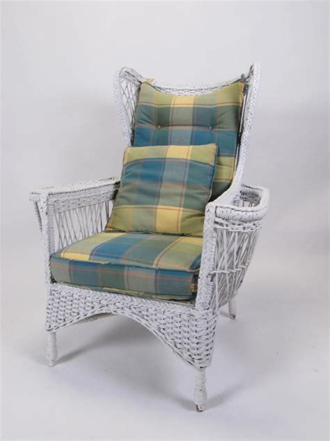 vintage white wicker high back chair