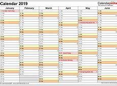 Printable Calendar Uk 2019 Year Planner 2019 A4 Wall Diary