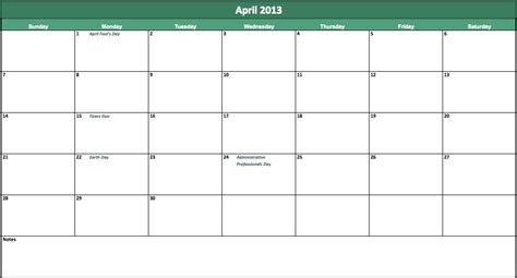 april  calendar  excel templates