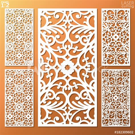 Patterned Panel Cutout Swimdress ornamental panels template set for cutting may be use for