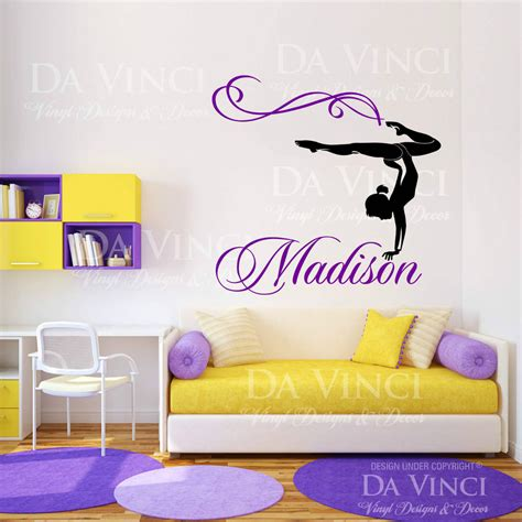 stickers chambre ado fille personalized name gymnast gymnastics vinyl wall