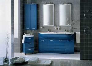 deco salle de bains 25 idees de mobilier en couleurs With meuble de salle de bain couleur bleu