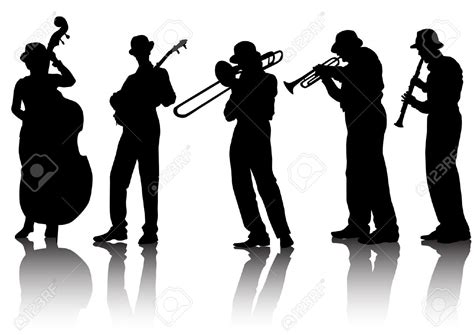 Blues Jazz Band Silhouette Clipart