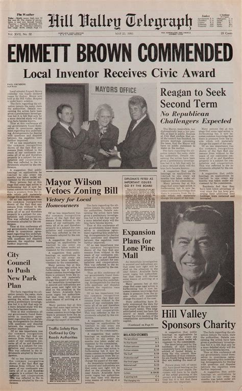 "Prop Hill Valley Telegraph Newspaper Featuring ""emmett Brown Commended"" From Back To The Future Ii"
