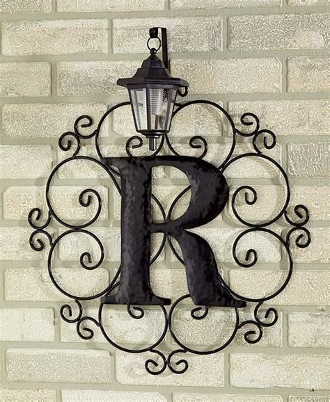 metal monogram solar light wall art hanging decor scrollwork frame  letters light wall art