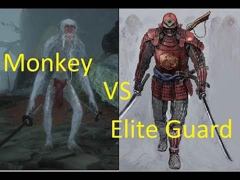White Monkey Dual Katana vs Red Guard Elite - Sekiro enemy battle