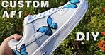 Custom Air Force 1 With Blue Butterflies