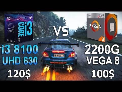Ryzen 3 2200G VEGA 8 vs i3 8100 UHD 630 Test in 7 Games
