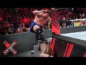 Samoa Joe stomps Kofi's hand between the ring steps: WWE Extreme Rules 2019 (WWE Network)