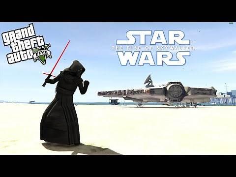 STAR WARS KYLO REN MOD w/ LIGHTSABER & MILLENNIUM FALCON - GTA 5 Mods