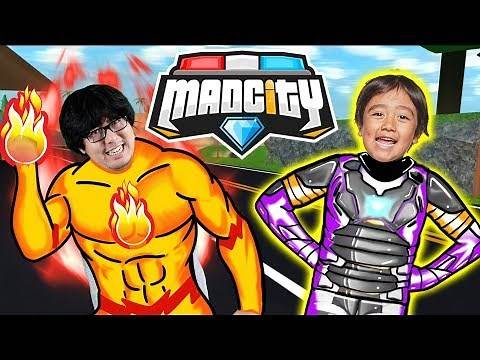 RYAN HAS A NEW HERO SUIT IN MAD CITY ROBLOX ! Let's Play Ryan Vs Daddy