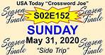 """S02E152 USA Today Crossword """"Side Trip"""" May 31, 2020"""