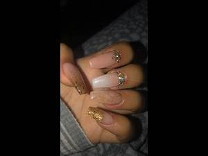 Nude Pink and Gold Glitter Acrylic Nails