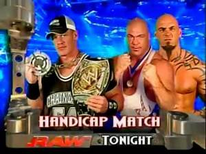 WWE Raw 12 9 05 Match Card John Cena Vs Kurt Angle & Tyson Tomko