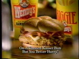 "1995 Wendy's ""Chicken Cordon Bleu Sandwitch (15sec) TV commercial"