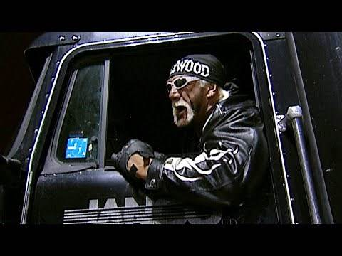 Hulk Hogan drives a tractor-trailer into an ambulance carrying The Rock: Raw, Feb. 18, 2002