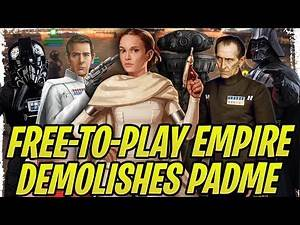 100% F2P Empire Demolishes Padme! TIE Pilot, Tarkin, Krennic, Vader, and More Counters! | SWGoH