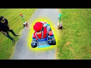 Mario Kart in Real Life: Baby Mario Races around Real Track