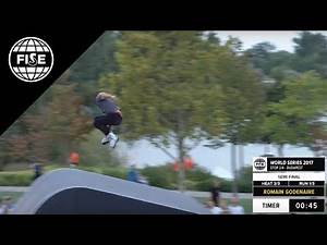 Romain GODENAIRE 1st semi final FIRS ROLLER freestyle park world cup FISE budapest 2017