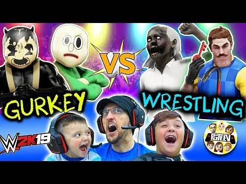 GRANNY WWE WRESTLING! Buff Baldi vs. FGTeeV Family Tag Team (Bendy Hello Neighbor Match)