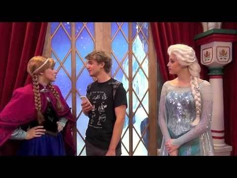 """""""Frozen"""" characters Anna and Elsa greet Tommy at Epcot in Norway"""