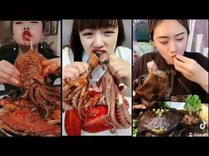 A chinese Girl Eating By Octopus, froges, Snakes, Pig & fish Jheenga And Hen, tortoise By Tiktok😂😂
