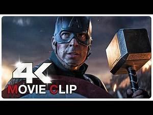 Captain America Lifts Thor's Hammer Mjolnir Scene - Avengers: Endgame (4K HD)