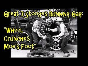 """Great 3 Stooges Running Gag: """"Wheel Crunches Moe's Foot"""""""