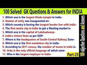 100 objective Questions and Answers Important for upcoming Exams | India GK Questions | Part-25