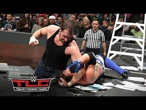 Dean Ambrose flattens AJ Styles with an elbow drop from a ladder: WWE TLC 2016