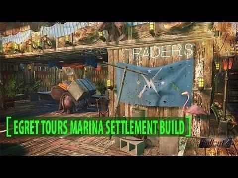 Fallout 4: Egret Tours Marina Settlement Build: No Mods