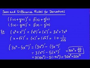 Calculus - Derivatives 5 - The Sum and Difference Rules