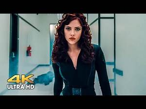 Black widow knocks out guards at Hummer Industries. Iron Man 2