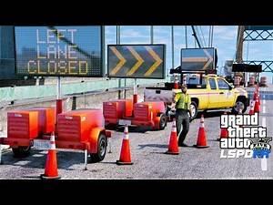GTA 5 Mod DOT Message Board Truck & Trailer Update - Traffic Control At Bridge Construction Site