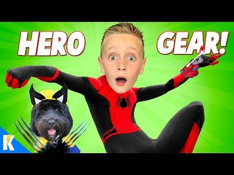 Spider-man & Puppy Wolverine! (Super Hero Gear Test SuperCut) KIDCITY