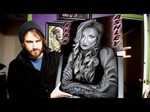 Airbrushing tattoo artist RYAN ASHLEY