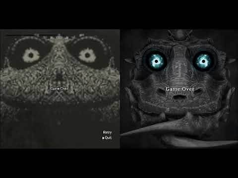 Shadow of the colossus game over screens comparison (Br) comparação de telas de game over