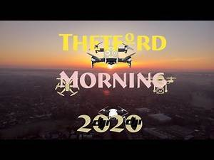 Beautiful cold foggy morning over the English town of Thetford Drone Footage Dji Mavic Air SUNRISE