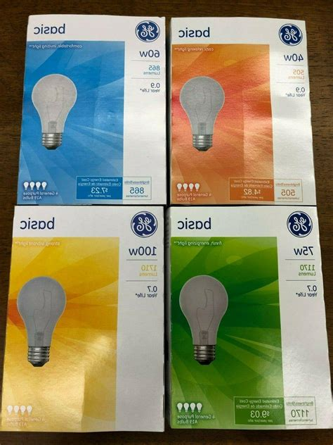 12~4 Packs GE Incandescent Light Bulb 75 Watt Basic A19 Base Total Of 48 Bulbs | Gps Store
