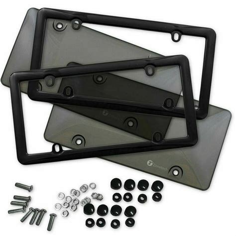 2x Clear Tinted Smoked License Plate Tag Shield Cover and Frame Auto | Watches Store Online Reviews
